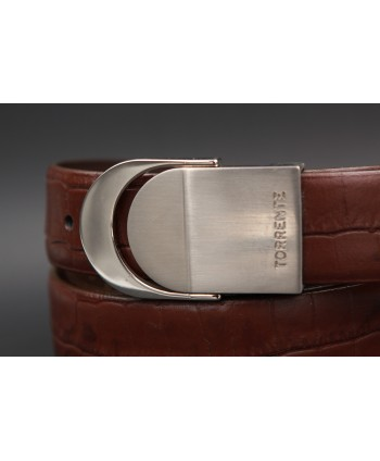 TORRENTE slit belt in brown calfskin imitation croco, nickel buckle - buckle detail