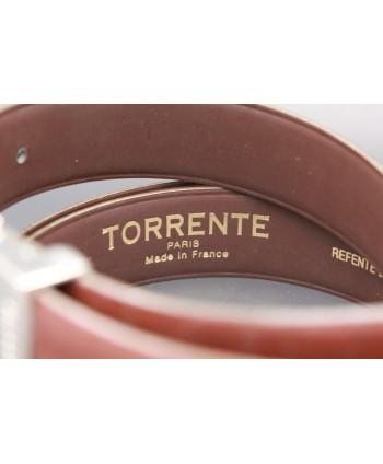 TORRENTE slit belt in brown calfskin imitation croco, nickel buckle - back detail