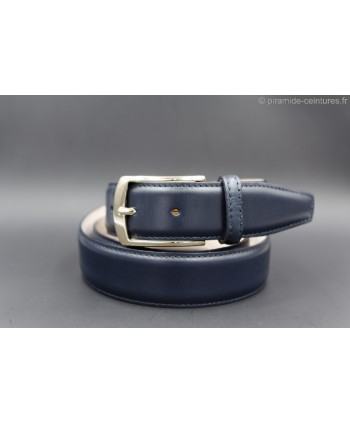 Navy smooth leather belt - golden buckle