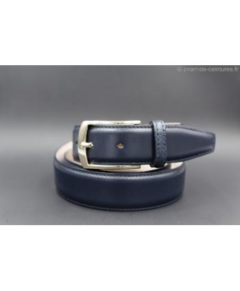 Navy smooth leather belt - golden buckle