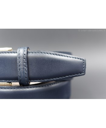 Navy smooth leather belt - pin detail