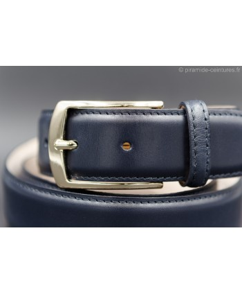 Navy smooth leather belt - golden buckle - buckle detail