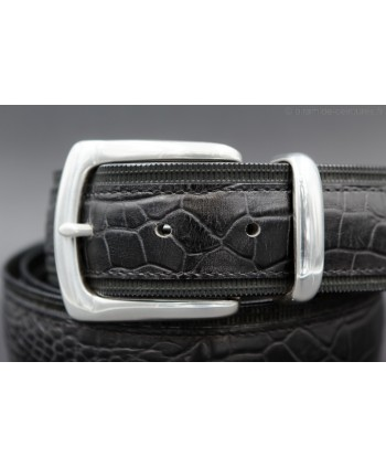 Black Crocodile-style leather belt with full metal tip - detail