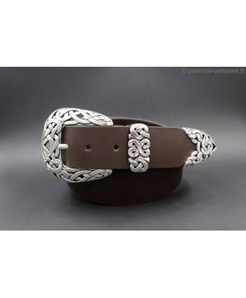 Large brown leather belt toecap