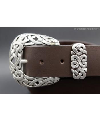 Large brown leather belt toecap - buckle detail