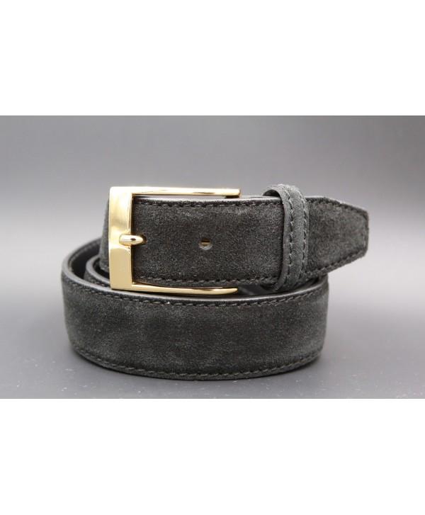 Anthracite suede leather belt - golden buckle