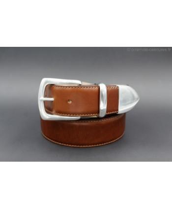 Cognac leather belt with nickel end cap