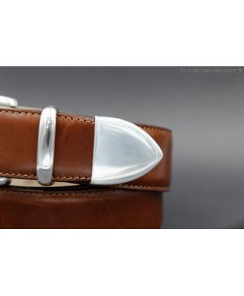 Cognac leather belt with nickel end cap - detail