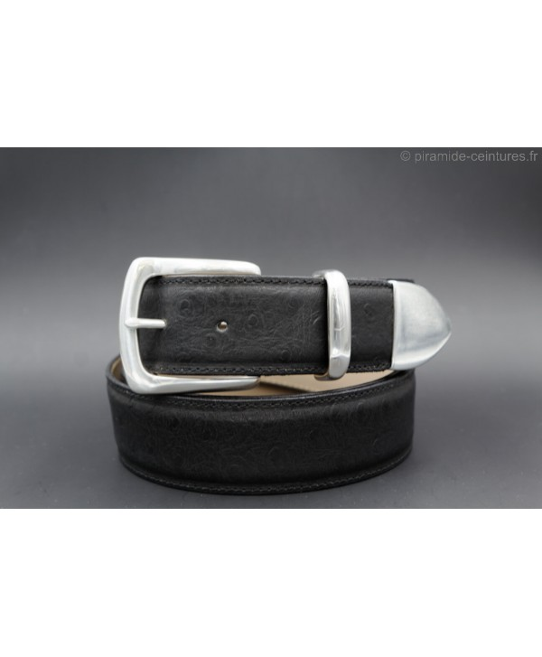 Black Ostrich-style leather belt with full metal tip
