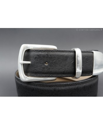 Black Ostrich-style leather belt with full metal tip - detail