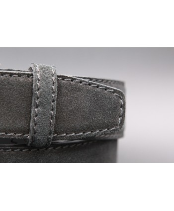 Anthracite suede leather belt - detail