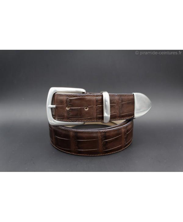 Ceinture cuir marron foncé façon croco avec embout métallique plein
