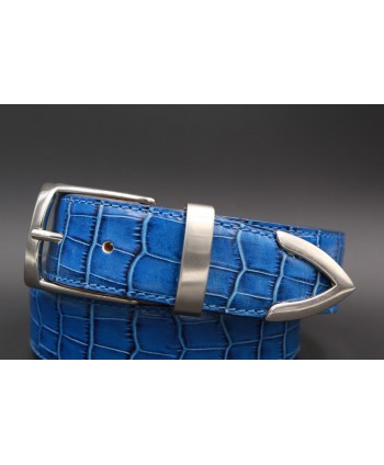Blue croco-style leather belt with metallic tip - detail