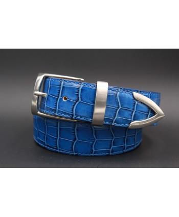 Ceinture cuir bleu façon croco avec embout métallique