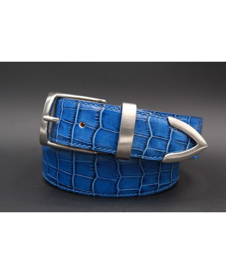 Blue croco-style leather belt with metallic tip