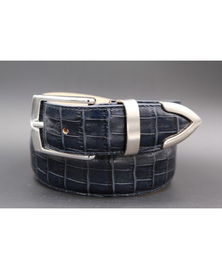 Navy blue croco-style leather belt with metallic tip
