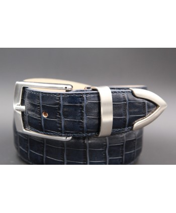 Navy blue croco-style leather belt with metallic tip - detail