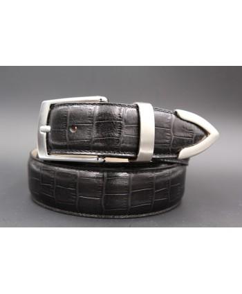 Black croco-style leather belt with metallic tip