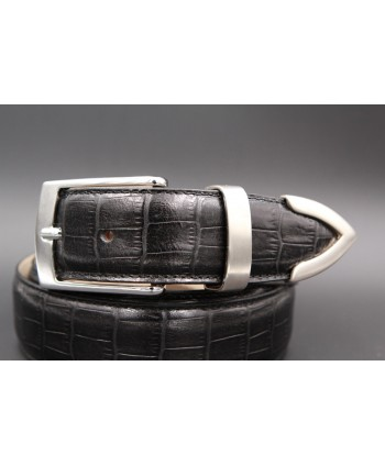 Black croco-style leather belt with metallic tip - detail