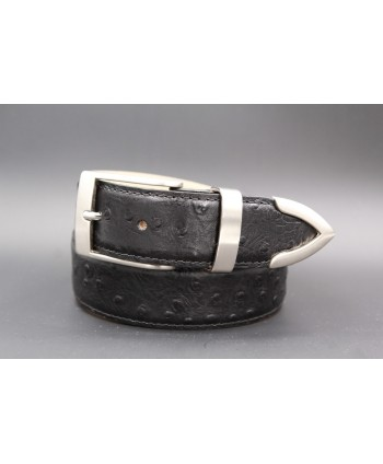 Ostrich-style leather belt with metal tip