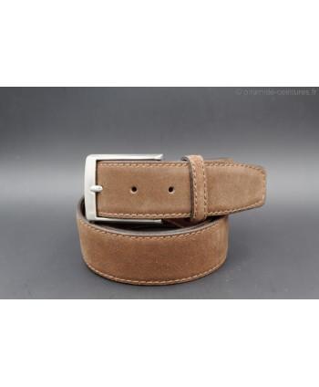 40mm brown cowhide suede belt - nickel buckle