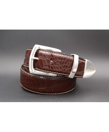 Dark brown Crocodile-style leather belt with full metal tip