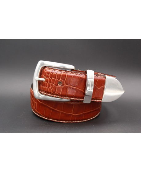 Camel Crocodile-style leather belt with full metal tip