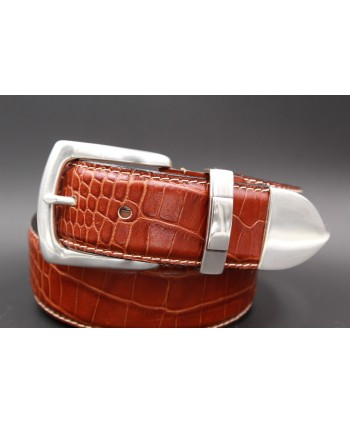 Camel Crocodile-style leather belt with full metal tip - detail