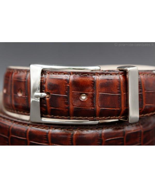 Ceinture croute de cuir marron 30mm - MarronPromo1
