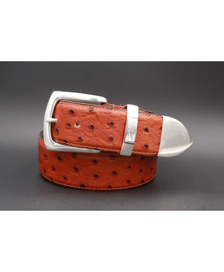 Camel Ostrich-style leather belt with full metal tip