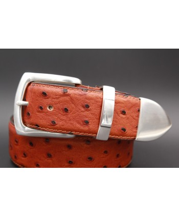 Camel Ostrich-style leather belt with full metal tip - detail