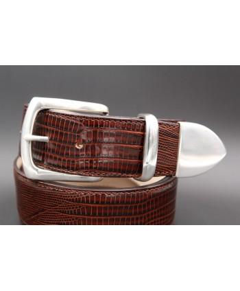 Dark brown Lizard-style leather belt with full metal tip - detail