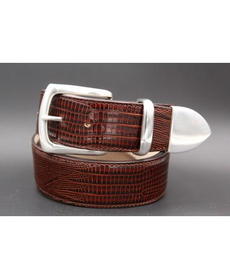 Dark brown Lizard-style leather belt with full metal tip