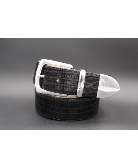 Black Lizard-style leather belt with full metal tip