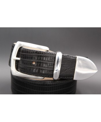 Black Lizard-style leather belt with full metal tip - detail