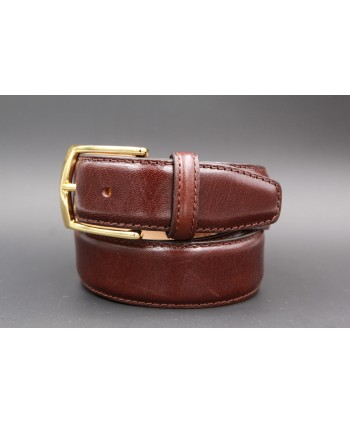 Dark brown smooth leather belt - golden buckle