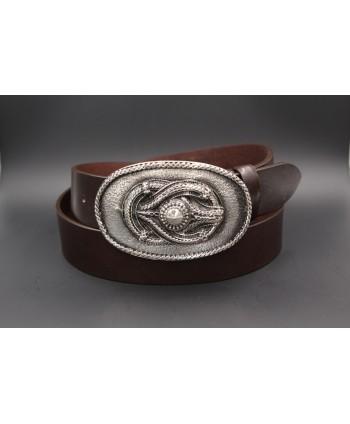 Ceinturon cuir marron foncé boucle motif corde