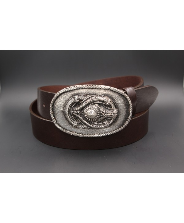 Large dark brown leather belt buckle with rope motif