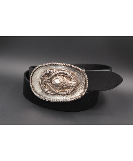 Large black leather belt buckle with rope motif