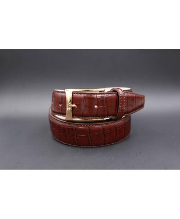 Brown crocodile-style cowhide leather belt - golden buckle