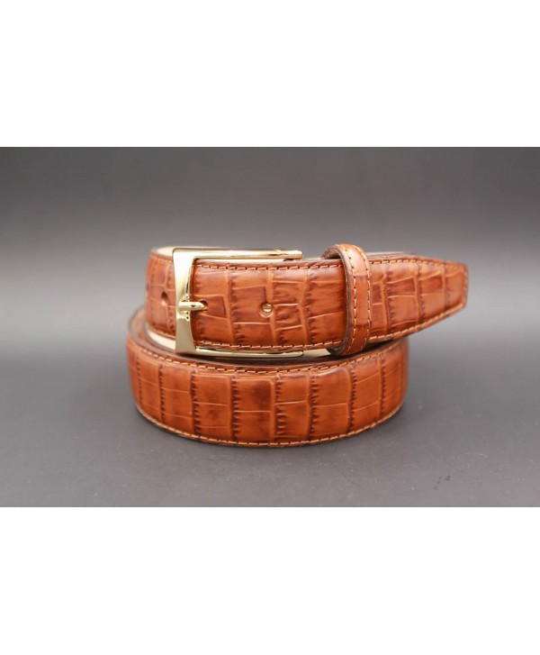 Cognac crocodile-style cowhide leather belt - golden buckle