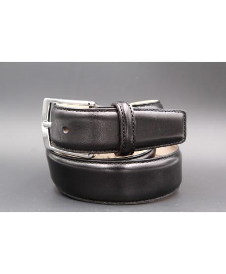 Ceinture cuir noir lisse - boucle nickel