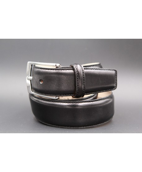 Black smooth leather belt - nickel buckle