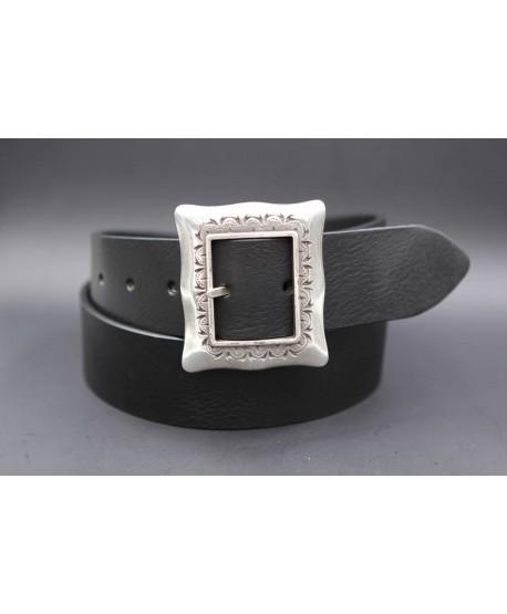 Ceinturon cuir noir boucle Cadre