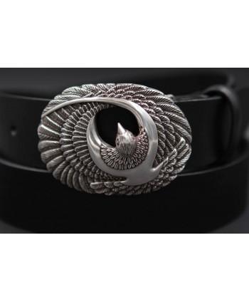 Ceinturon cuir noir boucle oiseau de proie - détail boucle