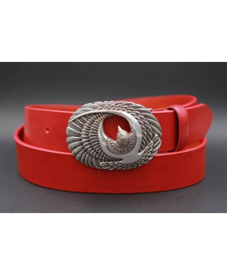 Large red leather belt with brid buckle