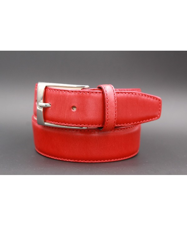 Red smooth leather belt - nickel buckle