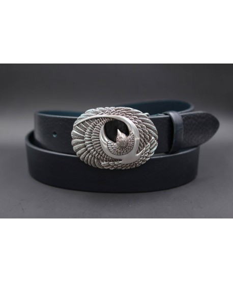 Large navy leather belt with brid buckle