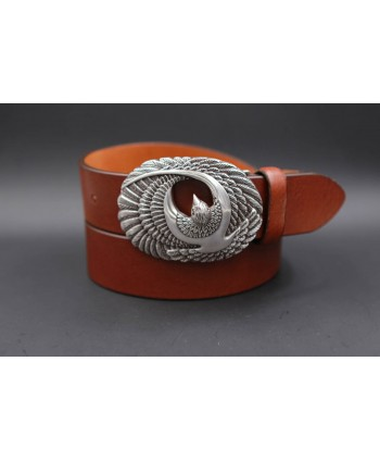 Large brown leather belt with brid buckle