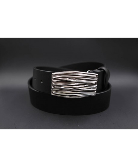 Large black belt with buckle branches